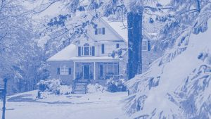 Cold, snowy winter home monotone blue | Climate Masters INC | Furnace Repair | Furnace Repair Service