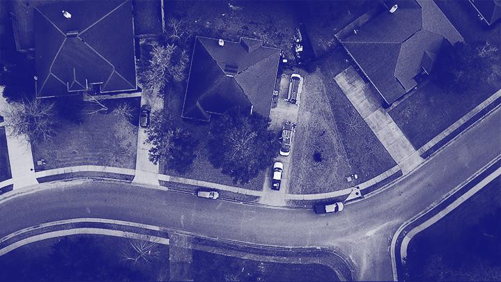 Daphne, AL neighborhood overhead view dark blue monotone | Climate Masters INC | HVAC Companies | HVAC Companies Near Me