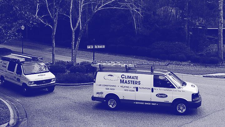 Service vans pulling into Daphne neighborhood dark blue monotone | Climate Masters INC | HVAC Companies | HVAC Companies Near Me